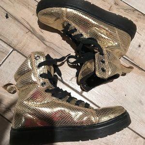Dr. Martens Gold Snake Print Sneaker Boots